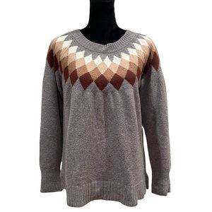 St. John's Bay grey cotton blend pullover nordic sweater size large